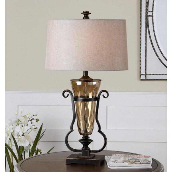Uttermost Aemiliana Light Amber Glass Crisp Beige Fabric Table Lamp
