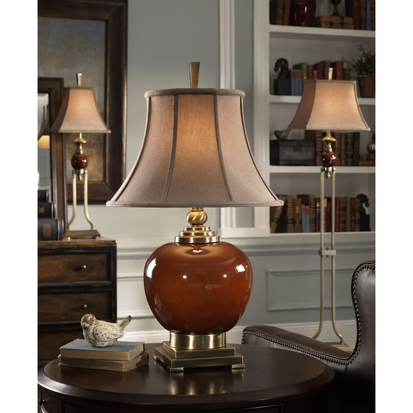 Uttermost Daviel Cinnamon Red Porcelain Silken Golden Textile Table Lamp