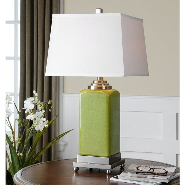 Shop Uttermost Piven Chartreuse Green Ceramic Table Lamp