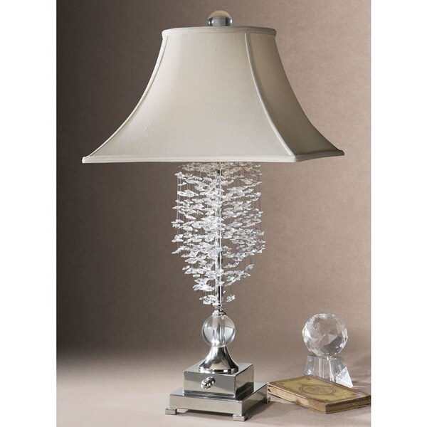 Uttermost Fascination Metal and Crystal Table Lamp - Silver