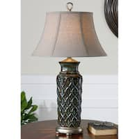 Uttermost Valenza Burnished Wash Blue Glaze Table Lamp