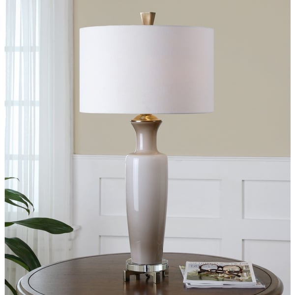 Uttermost Consuela Light Taupe Grey Glass Table Lamp