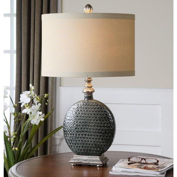 Uttermost Salinger Ceramic Slate Grey Table Lamp Free