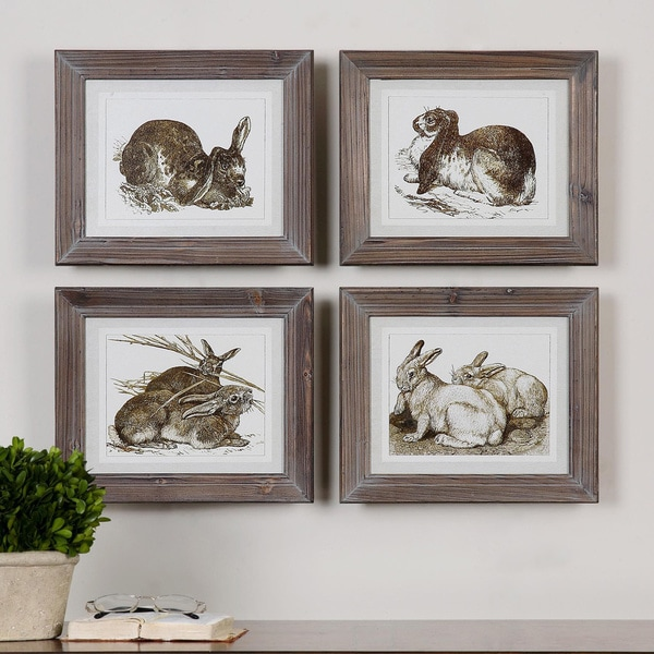 Uttermost Grace Feyock 'Regal Rabits' 4-piece Framed Art Print Set. Opens flyout.