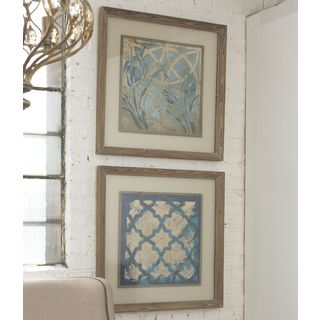 Uttermost Meagher 'Stained Glass Indigo' 2-piece Framed Canvas Art Set