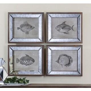 Uttermost 'Mirrored Fish' 4-piece Framed Canvas Art Print Set