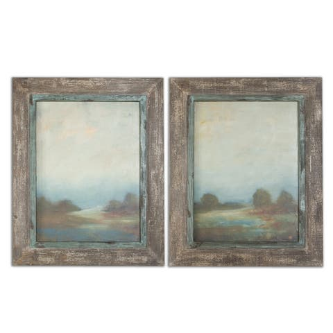 Uttermost Morning Vistas Set of 2 Framed Canvas - Brown - 25 x 32 - 25 x 32