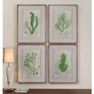 Uttermost 'Emerald Seaweed' 4-piece Canvas Art Print Set