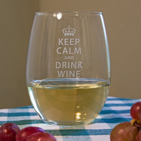 Shop Keep Calm And Drink Wine Stemless Wine Glass (Set Of