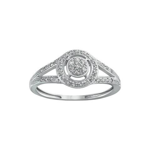 10k White Gold 1/6ct TDW White Diamond Halo Ring