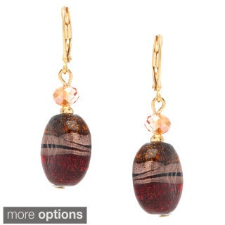 Alexa Starr Fancy Painted and Faceted Glass Round Earrings