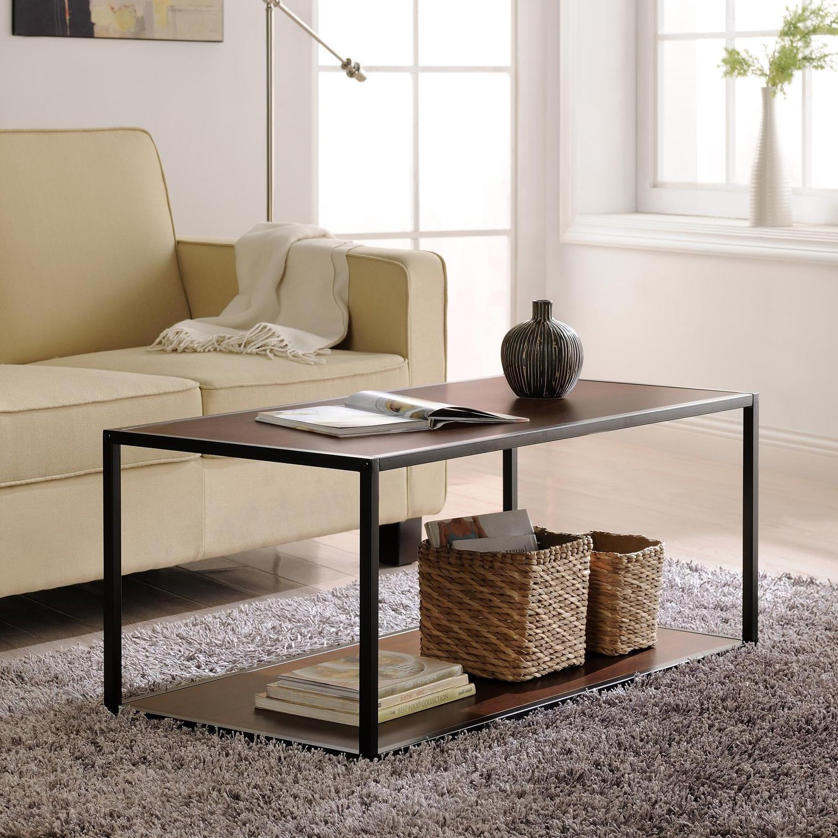 Wicker park haddon metal frame coffee table free shipping on wicker park haddon metal frame coffee table geotapseo Images