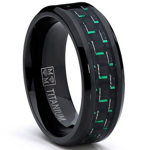 Oliveti Men's Black Plated Titanium Black/ Green Carbon Fiber Comfort Fit Ring (8mm)