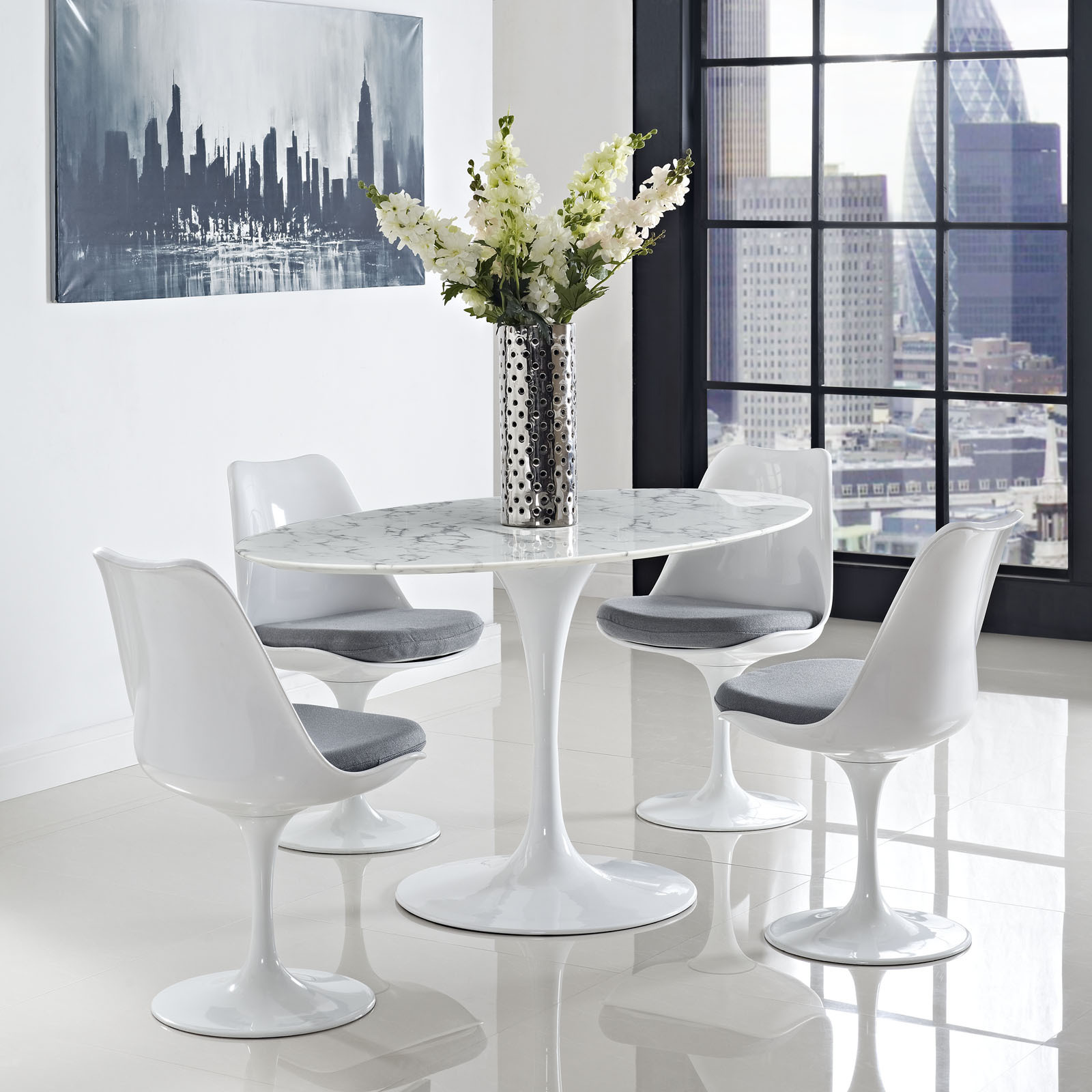 Lippa Marble 60 White Oval Shaped Dining Table