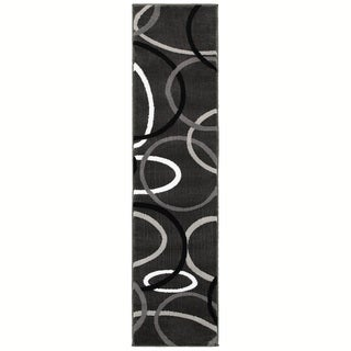 LNR Home Adana Charcoal Abstract Runner Rug (1'6 x 6'9)