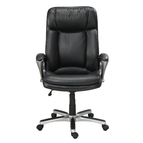 Serta Executive Smooth Black Big And Tall Puresoft Faux Leather Office Chair    Free Shipping Today   Overstock.com   16271183
