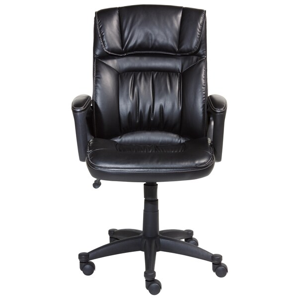 ... Serta Leather Managers Chair By Serta Smooth Black Executive Puresoft  Faux Leather Office ...