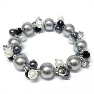 Bleek2Sheek Faux Pearl Passion with Crystal Cluster Fashion Stretch Bracelet