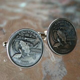 Handmade Men's Antiqued Silvertone Louisiana State Quarter Cuff-links