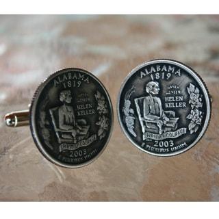 Men's Handmade Antiqued Silvertone Alabama State Quarter Cufflinks