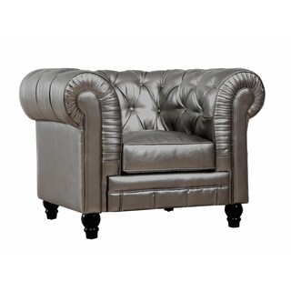 Zahara Silver Leather Club Chair