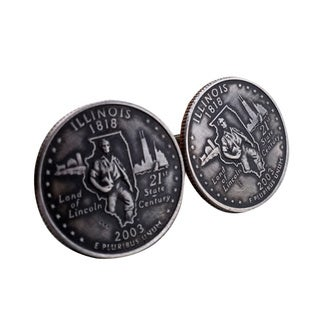 Handmade Antiqued Silvertone Men's Illinois State Quarter Cuff Links