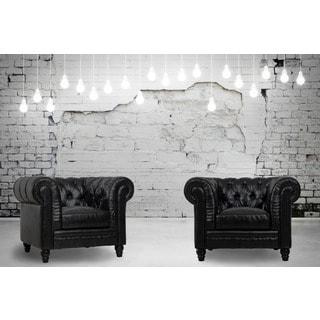 Zahara Black Leather Club Chair