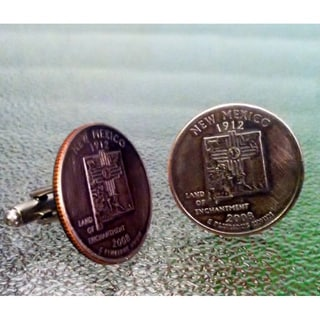 Handmade Antiqued Coppertone Men's New Mexico State Quarter Cuff links