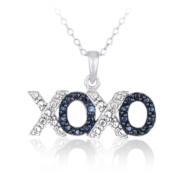 DB Designs Sterling Silver Blue Diamond Accent Hugs and Kisses Necklace