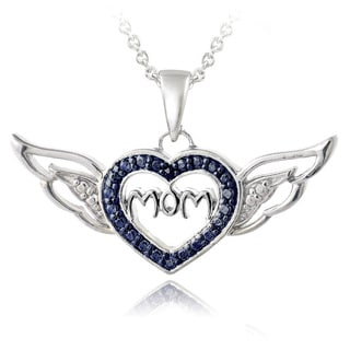 DB Designs Silvertone Blue Diamond Accent 'Mom' Heart and Wings Necklace