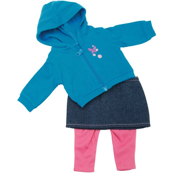 Springfield Collection Casual Outfit-Teal Hoodie, Denim Skirt and Pink Pants