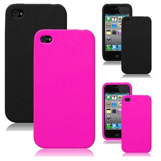 INSTEN Black Rubber Soft Silicone Soft Skin Gel Phone Case Cover for Apple iPhone 4/ 4S
