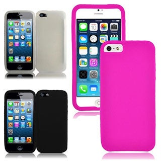 INSTEN Black Rubber Soft Silicone Soft Skin Gel Phone Case Cover for Apple iPhone 5/ 5S/ SE