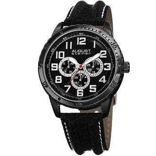 August Steiner Men's Quartz Multifunction Leather Black Strap Watch