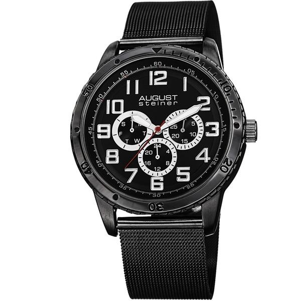 August Steiner Men's Quartz Multifunction Stainless Steel Mesh Black Bracelet Watch