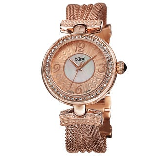 Burgi Women's Swiss Quartz Dial Mesh Rose-Tone Bracelet Watch
