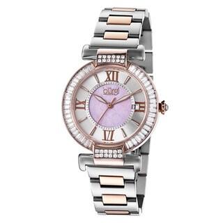 Burgi Women's Swiss Quartz Baguette Bezel Stainless Steel Two-Tone Bracelet Watch