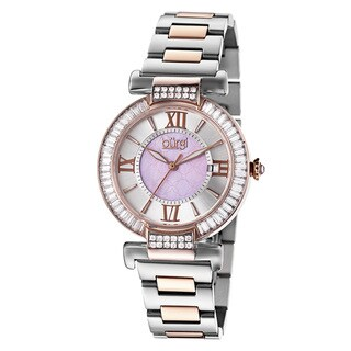 Burgi Women's Swiss Quartz Baguette Bezel Stainless Steel Two-Tone Bracelet Watch with FREE Bangle
