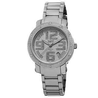 Burgi Women's Quartz Diamond-Accented Stainless Steel Silver-Tone Bracelet Watch