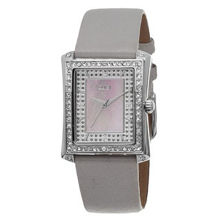 Burgi Women's Swiss Quartz Crystal-Accented Leather Grey Strap Watch