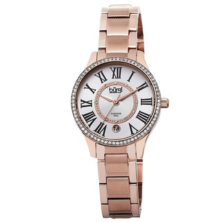 Burgi Women's Quartz Diamond Dial Stainless Steel Rose-Tone Bracelet Watch