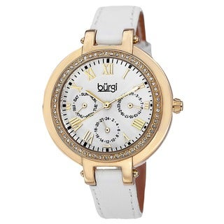Burgi Women's Crystal-Accented Quartz Multifunction Leather Gold-Tone Strap Watch