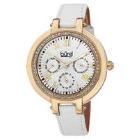6204dc30d Burgi Women's Crystal-Accented Quartz Multifunction Leather Gold-Tone Strap  Watch