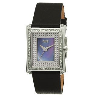 Burgi Women's Swiss Quartz Crystal-Accented Leather Black Strap Watch
