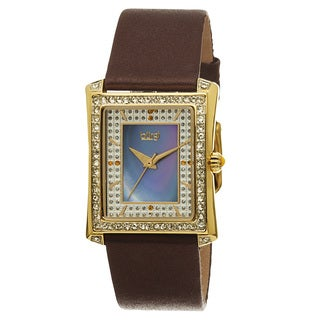 Burgi Women's Swiss Quartz Crystal-Accented Leather Brown Strap Watch