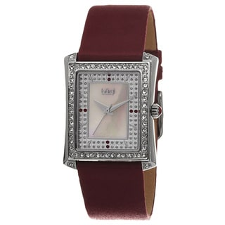 Burgi Women's Swiss Quartz Crystal-Accented Leather Strap Watch