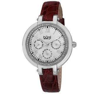 Burgi Women's Crystal-Accented Quartz Multifunction Leather Strap Watch