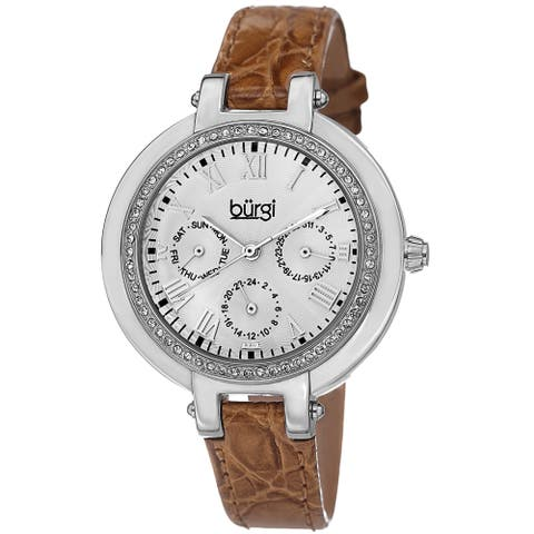 Burgi Women's Crystal-Accented Quartz Multifunction Leather Orange Strap Watch