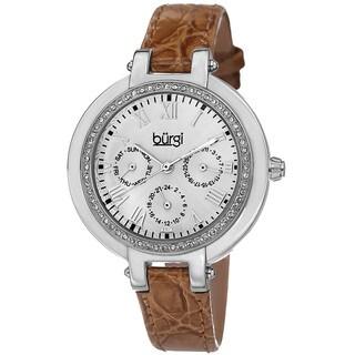 Burgi Women S Crystal Accented Quartz Multifunction Leather Orange Strap Watch
