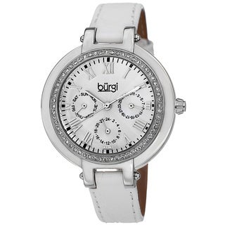 Burgi Women's Crystal-Accented Quartz Multifunction Leather Silver-Tone Strap Watch